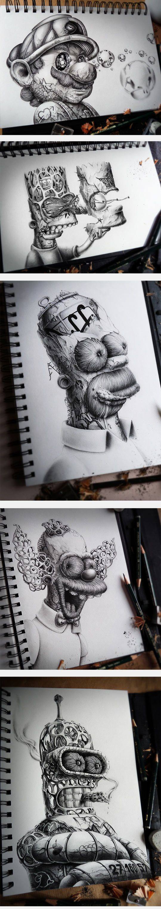 Famous Characters artistically destroyed. The 'Distroy' series by PEZ.