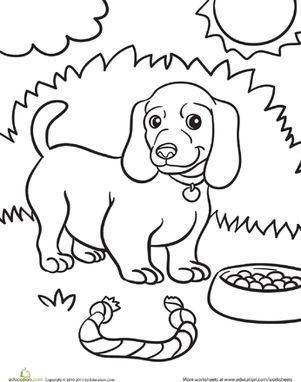 Kindergarten Animals Worksheets: Weiner Dog Puppy Coloring Page
