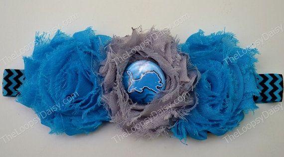 Detroit Lions Headband, Detroit Lions baby, Baby Girl bow, Detroit Lions bow, Detroit Lions shirt, Shabby Flower headband, Detroit Tigers on Etsy, $9.95