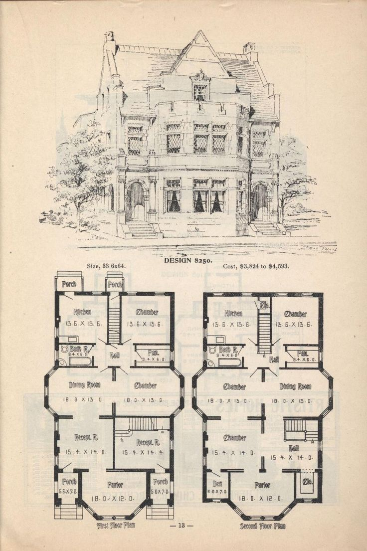 Old classic floor plans 1890s 2 story home artistic city Victorian mansion plans