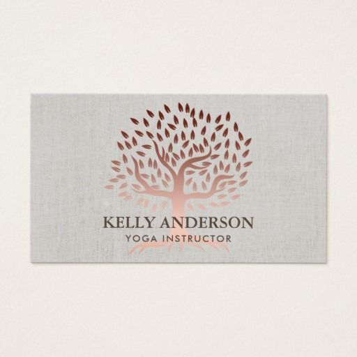 295 best yoga instructor business cards images on pinterest yoga instructor rose gold tree elegant linen business card colourmoves Image collections