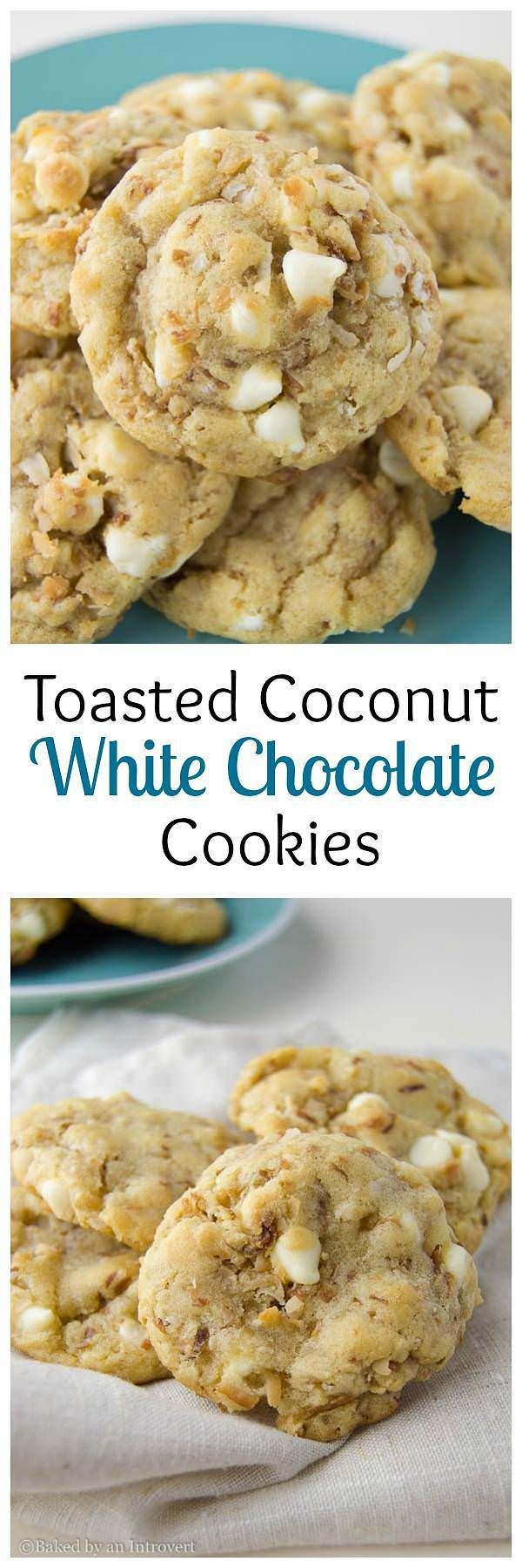 Toasted Coconut White Chocolate Chip Cookies are the chewiest and softest white chocolate chip cookie with loads of toasted coconut. via @introvertbaker