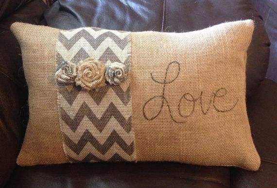 Burlap Pillow with Chevron Stripe by ThatsMyGracie on Etsy, $30.00 cute on a bench in entry
