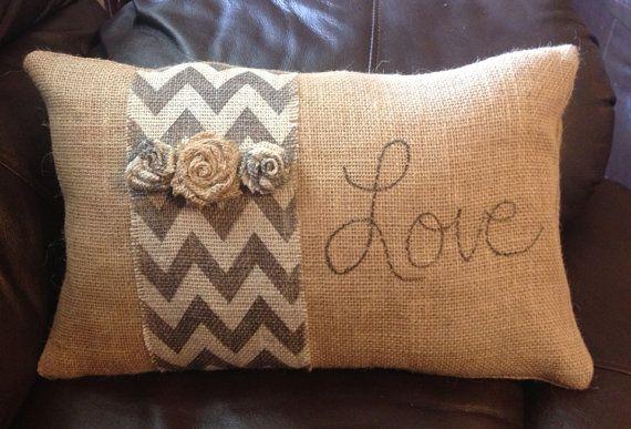 Burlap Pillow with Chevron Stripe by ThatsMyGracie on Etsy, $30.00