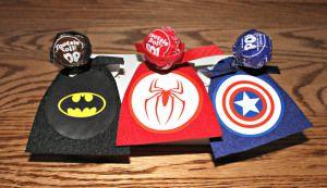 Super Hero Valentine's Suckers (Batman, Spiderman, Captain America, Superman, Super Girl, Wonder Woman)