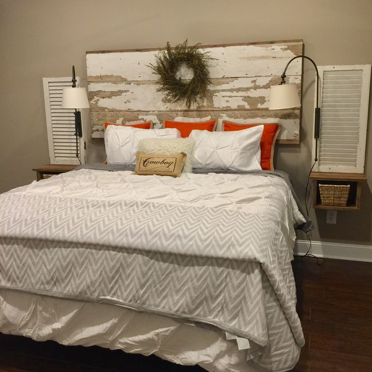 Shiplap Headboard Shutter Side Tables With Sconces Attached To The Wall Shiplap Headboard