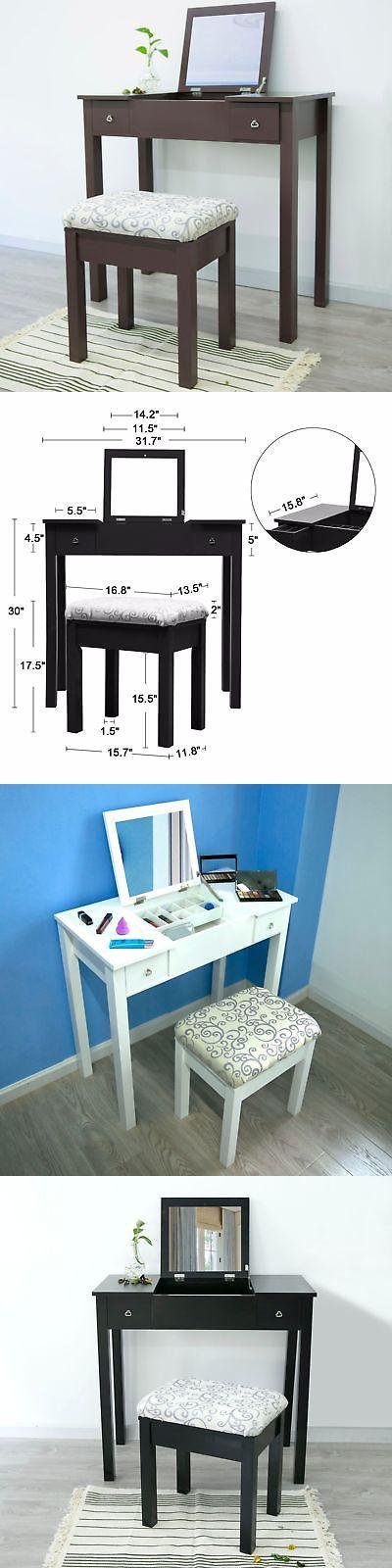 Baby Swings 2990: Vanity Makeup Flip Top Mirror Drawers Dressing Table Set W Cushioned Stool -> BUY IT NOW ONLY: $149.99 on eBay!