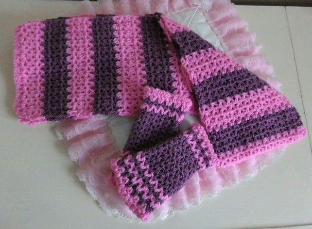 Gift Set Crocheted Scarf And Hand Warmers ,  Fingerless Gloves, For Girls,  £12.00