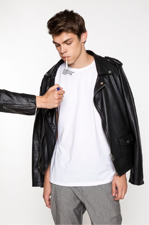 """""""Need to know is greater than the desire to be fooled"""" this design represents ABIDELESS beliefs of merging powerful statements with sleek streetwear design. Get yours at www.abideless.com #dope #streetstyle #men #fashion #leather #jacket #quote"""