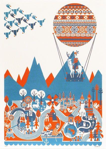 Scandinavian hot air balloon poster
