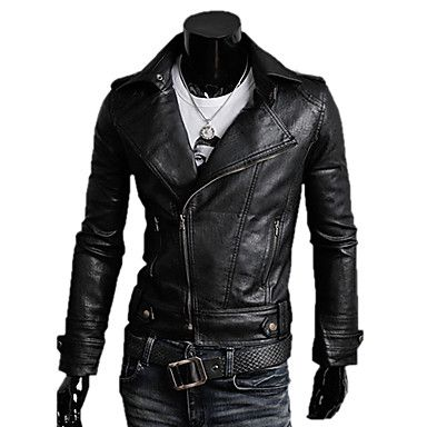 Jogal Wing tailor collar long sleeve PU leather jacket (Khaki,Black) – AUD $ 40.03