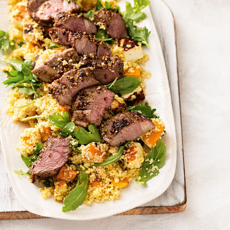 How to make delicious Dukkah Lamb with Haloumi Couscous. #Dukkah #Lamb #Haloumi #Couscous #Dinner