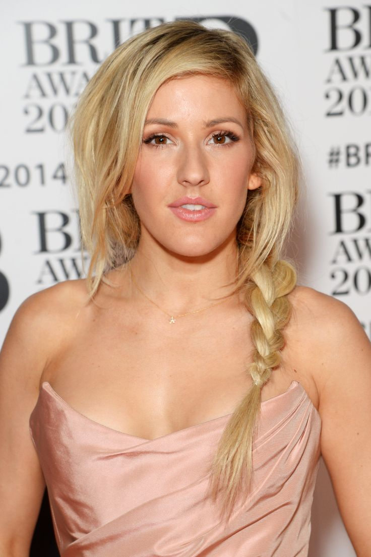 Ellie Goulding's undone textured braid paired with her pink Vivienne Westwood princess gown