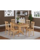 East West Furniture AVAT5-OAK-W 5PC Oval Dining Set with Single Pedestal featured 18 in. butterfly leaf and 4 wood seat chairs