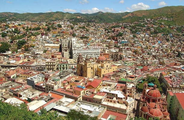 This is a panoramic view of the City of Guanajuato, capital of the state of Guanajuato.  Its architecture reveal its heavy European influence.