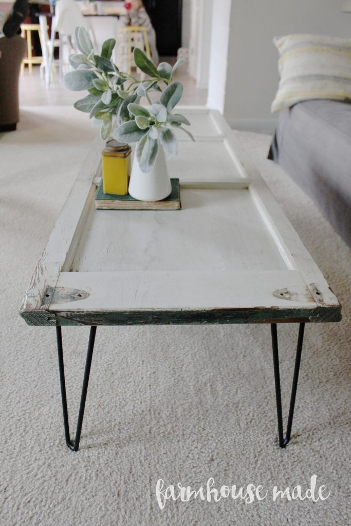 DIY Coffee Table with Hairpin legs from a salvaged shutter! How adorable, you&#3...