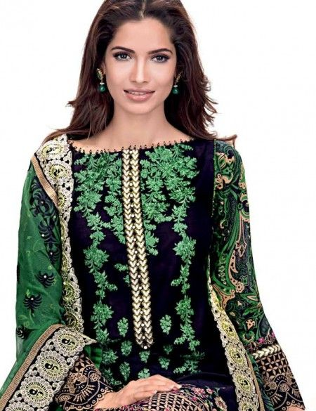 Gul Ahmed Women's Pure Chiffon Embroidered Green Dress Material Includes Embroidered  Chiffon Dupatta PM-124