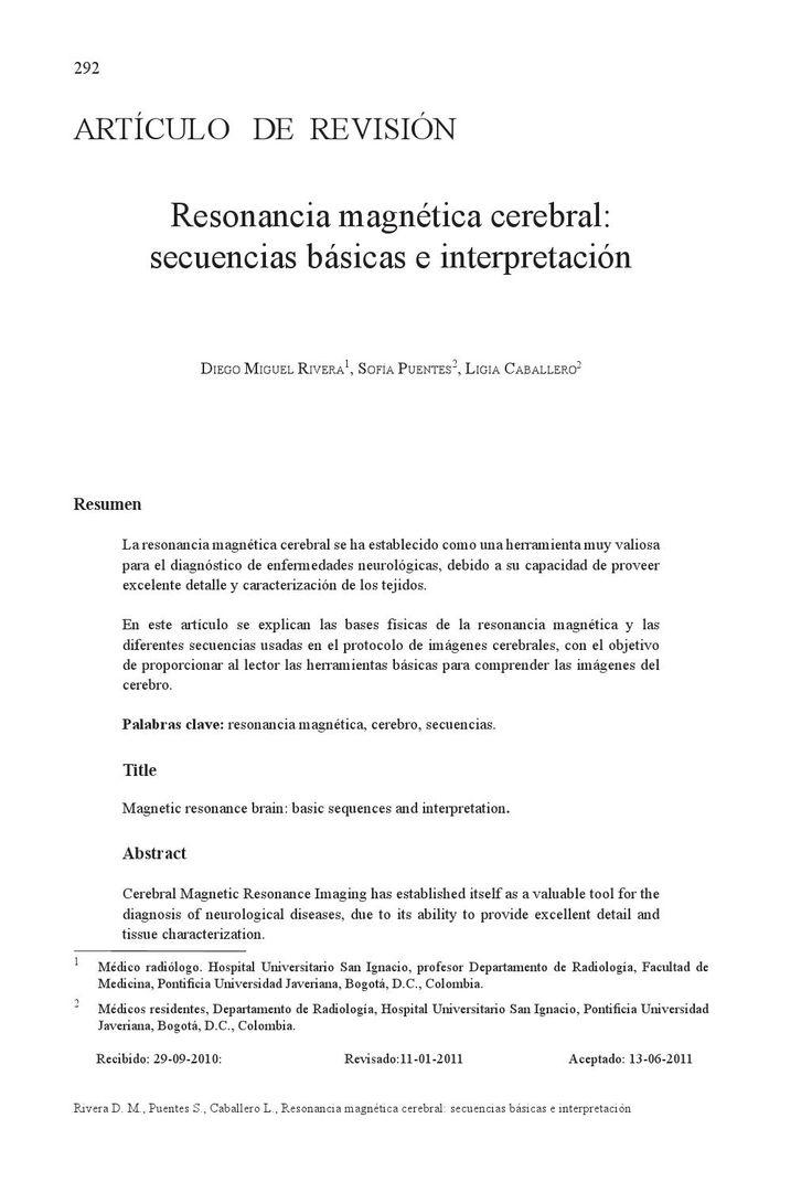 Articulo de revisión sobre las secuencias básicas y su interpretación en la resonancia cerebral