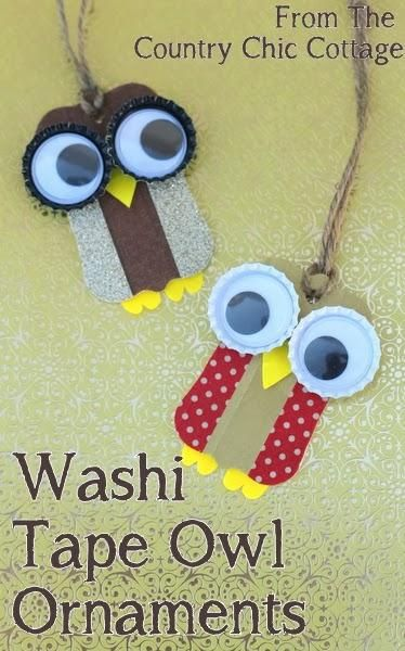 Washi Tape Owl Ornaments