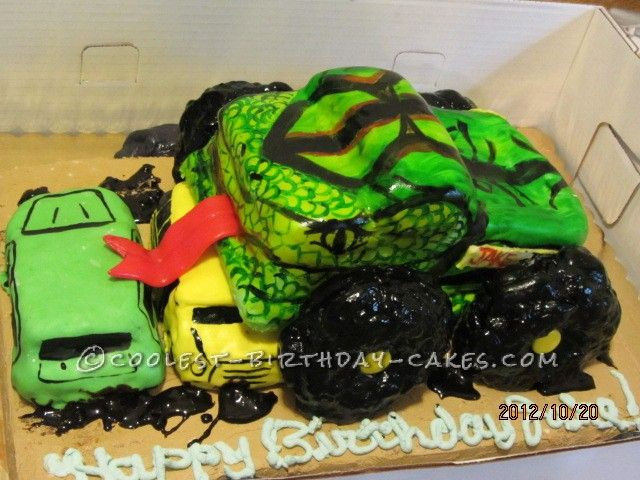 Awesome Monster Truck Birthday Cake... This website is the Pinterest of birthday cake ideas
