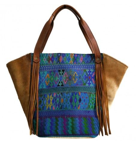 Pacaya Tote Bag from Camboria Handmade with genuine hair leather and huipil from Todos Santos. LOVE LOVE LOVE IT! Gypsy, boho, ethnic & chic.