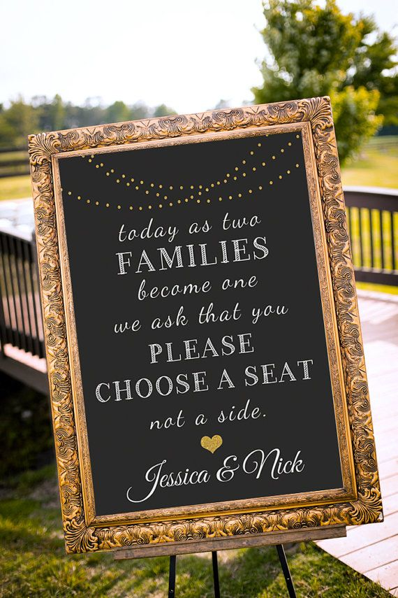 Choose a seat not a side sign, Gold Wedding Decor, Seating sign, Black & Gold Party Decor, chalkboard Wedding Sign, Art Deco - PRINTABLE
