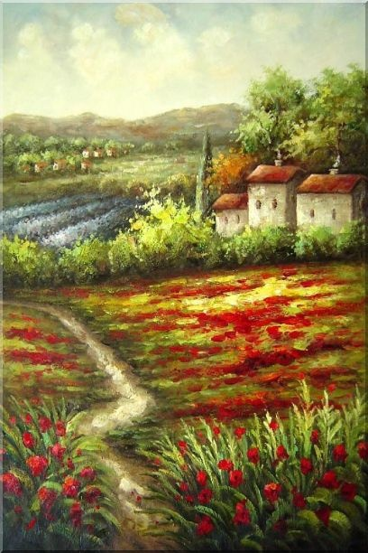 Framed Gorges Tuscany Red Poppy Flower Fields Oil Painting