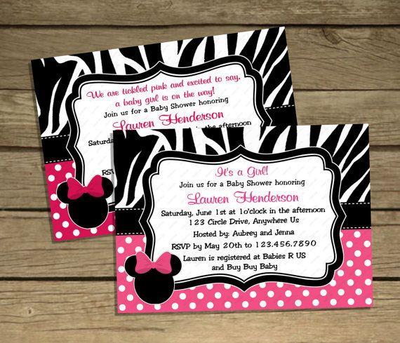 custom color zebra minnie mouse baby shower birthday girl polka dot