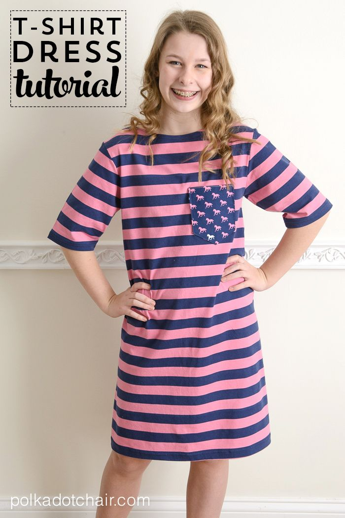 Make a t-shirt dress using a t-shirt as a sewing pattern. Learn how to sew t-shirt dress. Easy knit fabric sewing projects for beginners