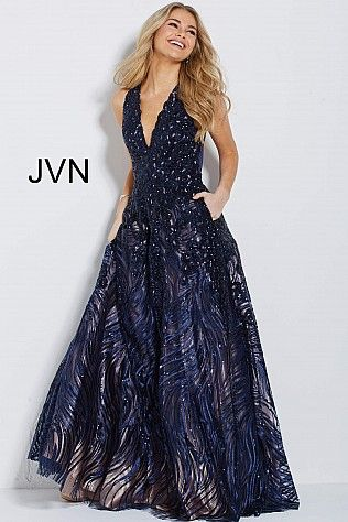 cc01777329 Navy Nude Embellished V Neck Ballgown JVN60641  BacklessDress  Prom  Evening   JVN
