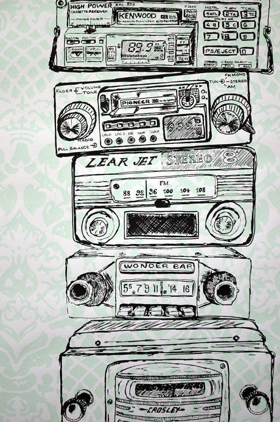 Vintage radios poster print  A Short Visual by forever500francs, €25.00