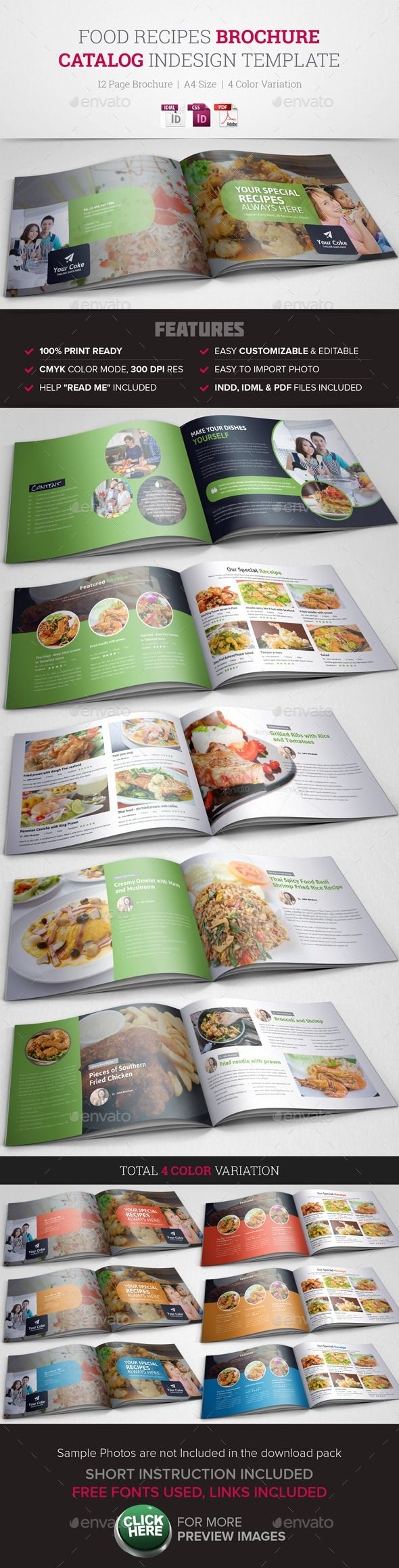 Food Recipes InDesign Brochure Catalog