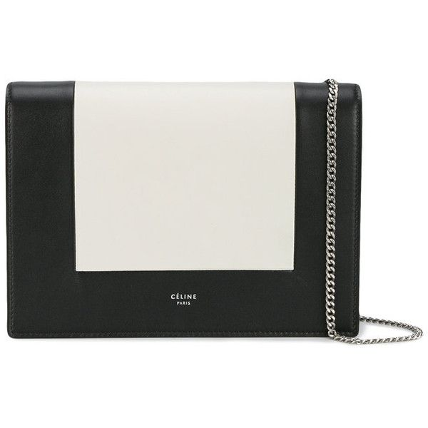 Céline Céline Clutch Box Bag (£905) ❤ liked on Polyvore featuring bags, handbags, clutches, black, hand bags, real leather handbags, handbag purse, chain strap purse and genuine leather handbags