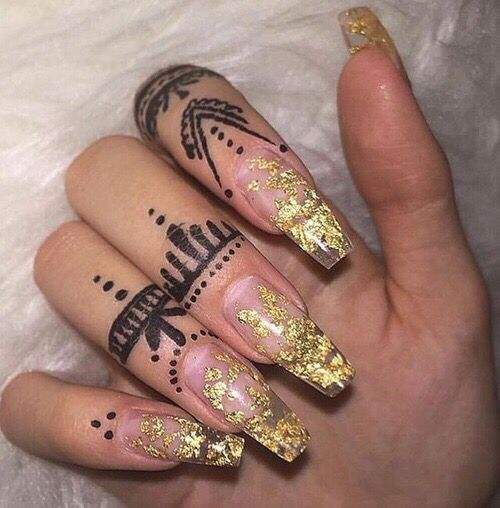 Gold clear glitter coffin nails