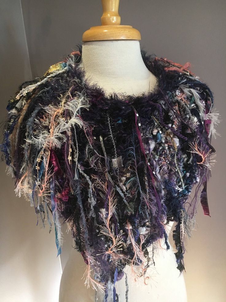 Handmade Poncho or cowl with hand spun dyed mohair bamboo blend. Dumpster Diva 'Bella' Fringed Poncho, shoulder wrap, multicolor wrap, boho by RockPaperScissorsEtc on Etsy