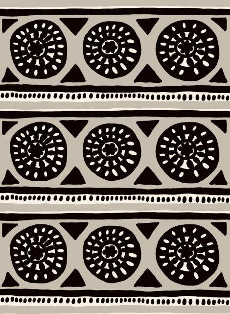 Kärrynpyörä-puuvilla (beige, musta, l.valkoinen)  Jenni Tuominen   Marimekko