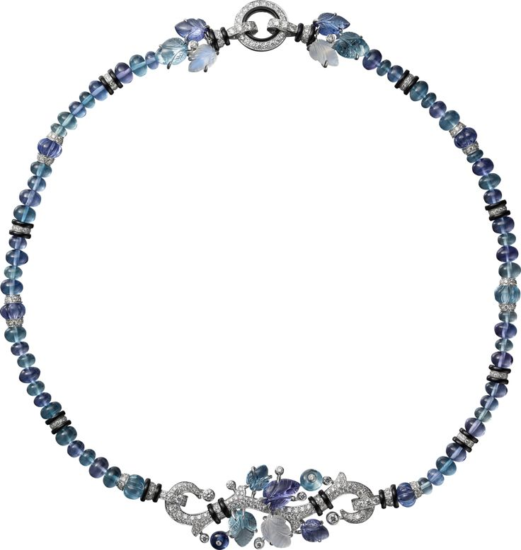CARTIER. Long necklace with engraved stones, 18K white gold, set with aquamarines, tanzanites, moonstones, onyx and brilliant-cut diamonds. It can also be worn as a short necklace. #Cartier #CartierMagicien #HauteJoaillerie #FineJewelry #Diamond #Tanzanite #Aquamarine #Moonstone #EngravedStones