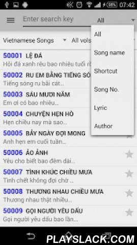 Karaoke Vietnam List  Android App - playslack.com , Karaoke Viet Nam is an application for karaoke songs lookup on Arirang, California and Music Core karaoke devices. With more than 32,000 Vietnamese songs and English songs with full lyrics, you can practice your voice with your favorite songs anywhere without forgetting lyric.Supporting smart search songs with lots of options, you don't need to remember any markups which have been added into search key (such as #, *, !, @,... ) or don't…