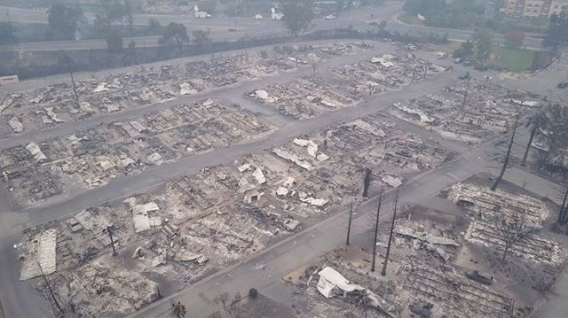 The Remains Of Journeys End Mobile Home Park And Hilton Sonoma Wine Country Hotel In Santa Rosa After Fire Ripped Through Area