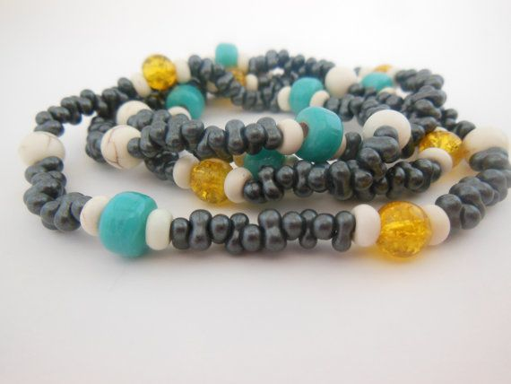 Funky Peanut beads with Yellow glass beads and by LeelysBeads, €10.00