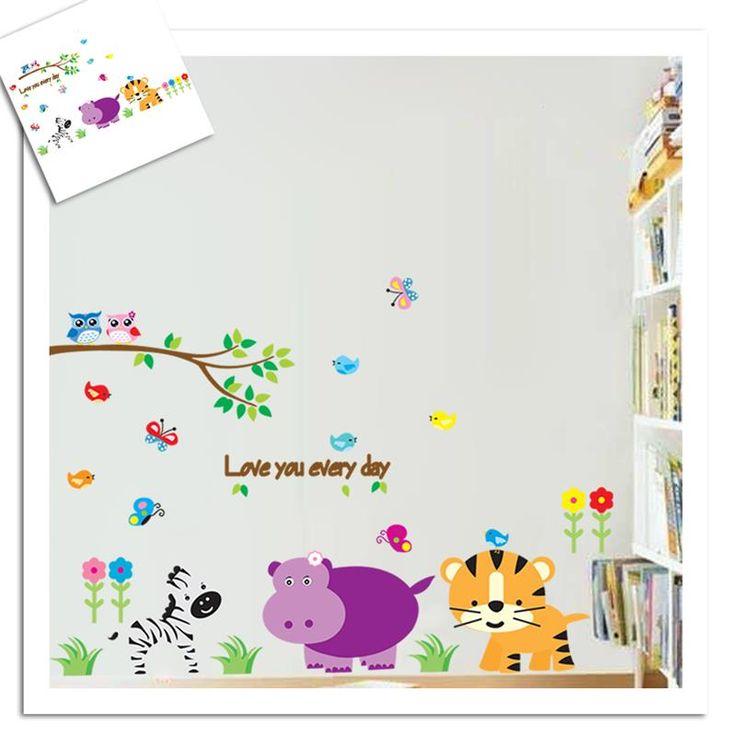 Zebra Tiger Animals Tree Wall Stickers For Kids Bedroom Decoration Diy Zoo Adesivo De Paredes Home Decals Safari Mural Arts #Affiliate