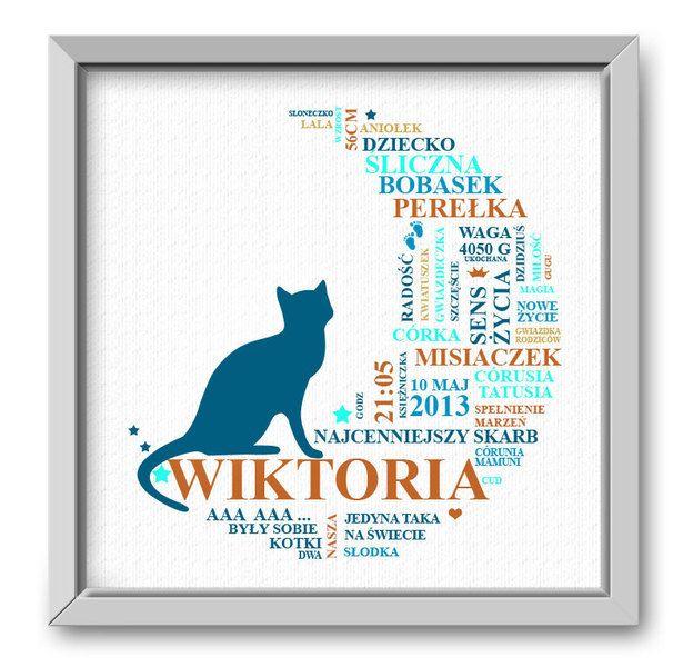 Pamiątkowy obrazek, metryczka dziecka. Księżyc kot w Roanstudio na DaWanda.com