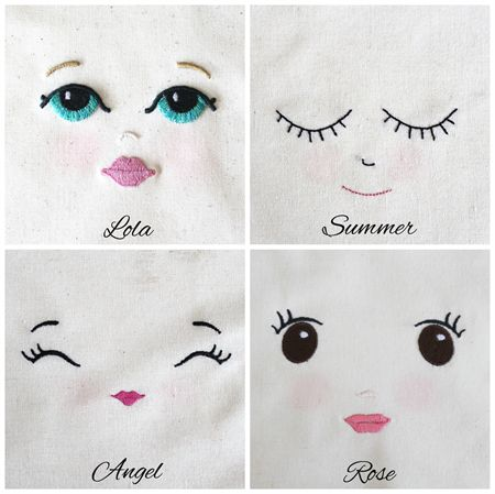 Embroidered Doll Face - Lola - Calico