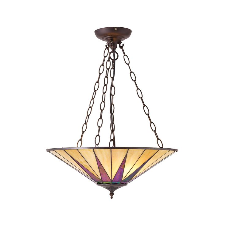 Dark Star 70754 Tiffany Large Inverted 3 Light Pendant Style Glass Satin Black Paint