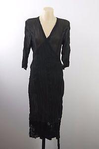 NWT Size M 12 FLIRT Ladies Black Wrap Dress Cocktail Gothic Wedding Evening Chic  | eBay