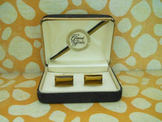 Vintage GRAND PRIX Tiger Eye Cuff Links ► http://etsy.me/1jVVuRT