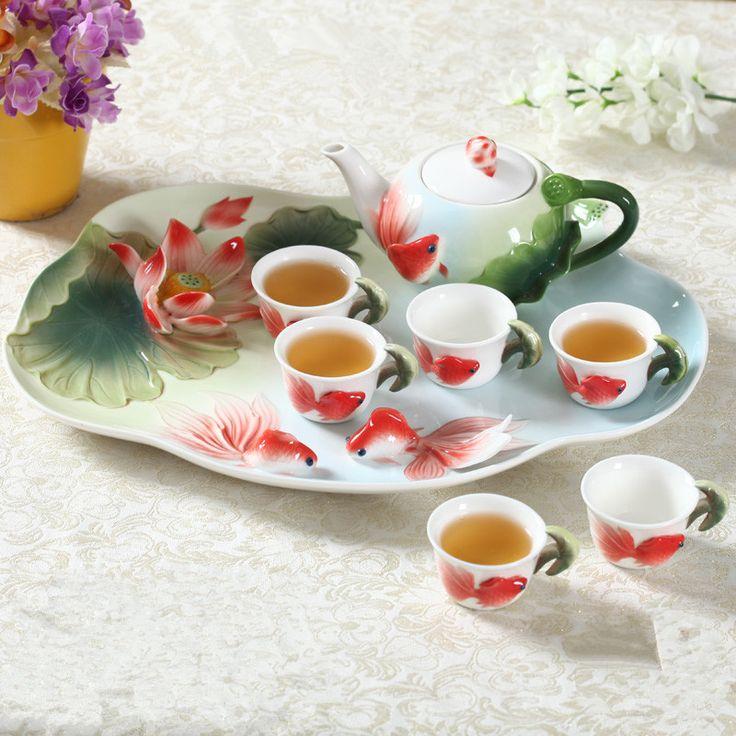 8 SZTUK Chiński Zestaw Herbaty Zestaw Kung Fu Szkliwa Porcelany Kawy Kubki High-grade Ceramiczny Dzbanek Do Herbaty Europejskiej Herbaty Kubki do kawy