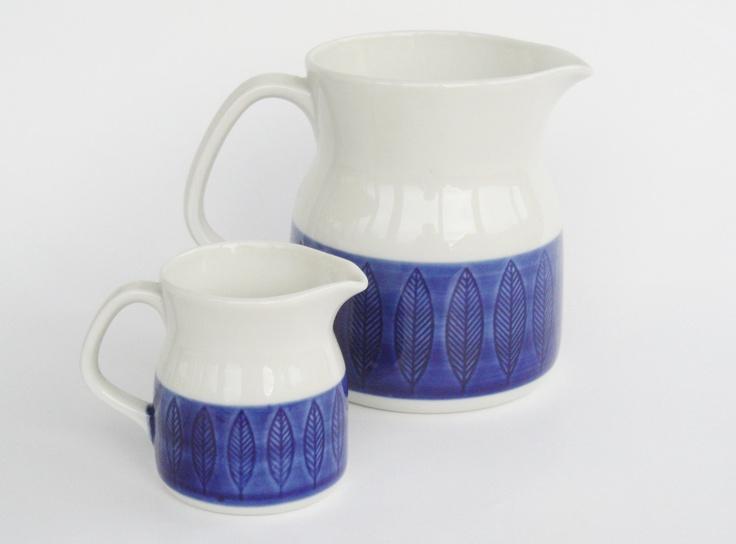 Vintage Rörstrand Koka jug pitcher milk set of 2 Hertha Bengtsson retro blue white Sweden scandinavian tableware pottery. €39.00, via Etsy.
