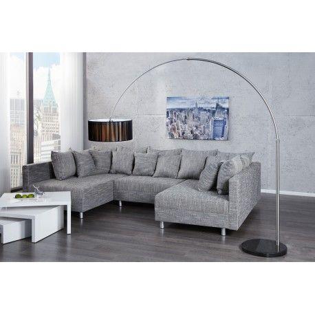 Lampadaire designoffre une touche de glamour à votre intérieur, avec un support métallique sous forme d'arc, un socle rond solide en pierre de marbre noir, ...