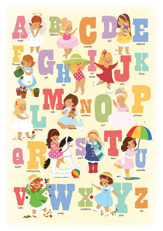 Alphabet Poster For Girls Print In Girly Colours. Bedroom